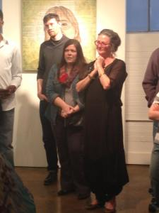 Chris, Lezza and Leigh listening to poetry at the Stutz Gallery exhibit