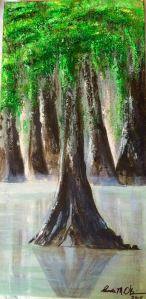 Cypress grove on canvas commissioned piece for Jennifer Vines
